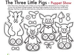 the three pigs puppet templates tales coloring pages printables education