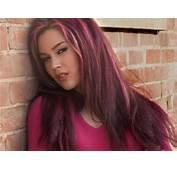 Women Model Purple Hair Dyed Long Face