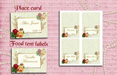 shabby chic wedding escort flat card template place