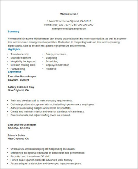 Resume Sles For Executive Housekeeper Sle Housekeeper Resume 8 Exles In Word Pdf