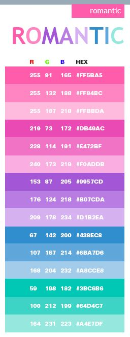 romantic color schemes romantic color schemes color combinations color palettes for print cmyk and web rgb html
