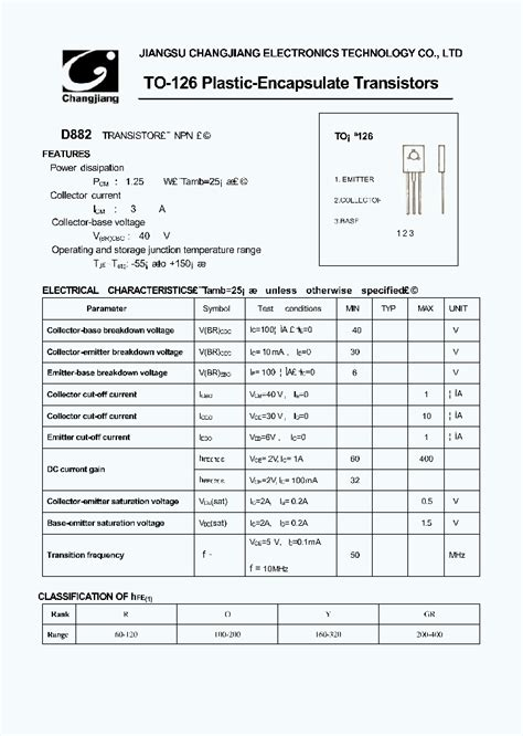 transistor d882 y datasheet d882 1017175 pdf datasheet ic on line