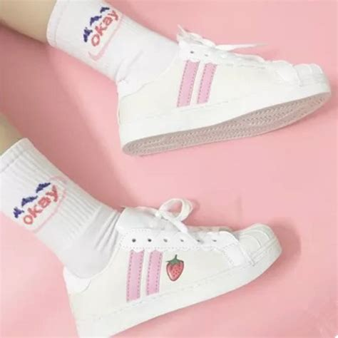 Cutie Bootie Shoes White japanese strawberry sneakers shoes 183 kawaii
