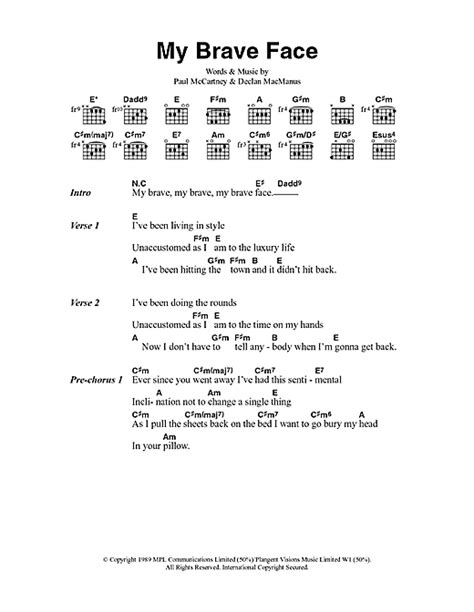 printable brave lyrics my brave face sheet music by paul mccartney lyrics