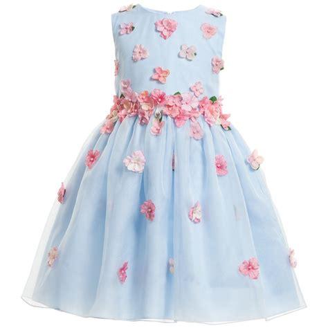 13492 Blue Pink Flower Dress lesy luxury flower blue silk dress with pink flowers