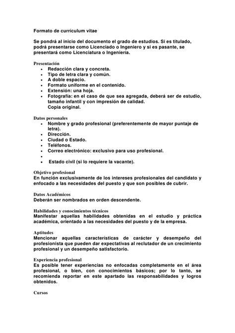 Modelo Curriculum Vitae 1 Hoja Formato De Curriculum Vitae
