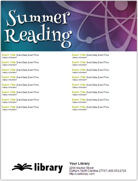 read poster template new summer reading templates novelist ebscohost
