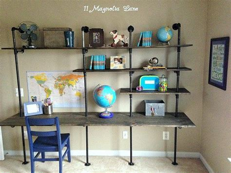 boys industrial bedroom diy industrial shelving desk in a boy s room