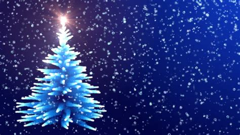 abstract christmas tree animation with falling snowflakes