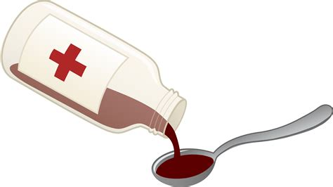 Treatment Clipart cough syrup and spoon free clip