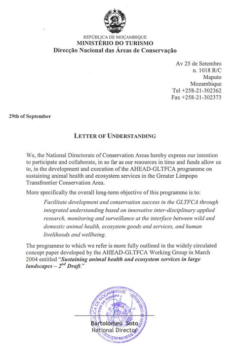 Acceptance Letter From Of Limpopo Ahead Gltfca Letters Of Understanding