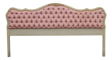 silk tufted headboard vintage french provincial tufted pink silk carved wood
