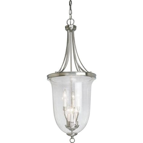 foyer lighting progress lighting brushed nickel 6 light foyer pendant