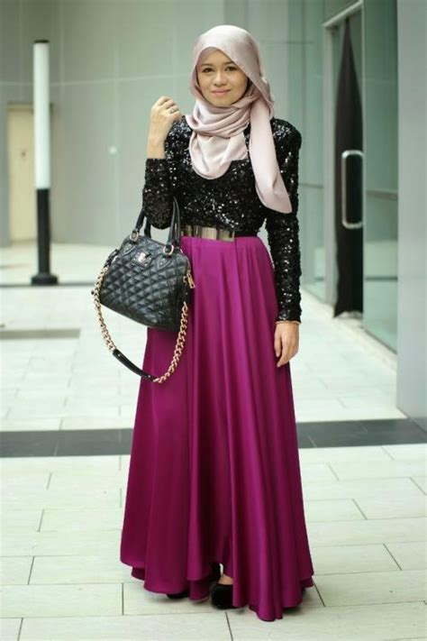 Trend Baju Gamis Ilma Maxi Black Grey cap twisted and platted hijab s with skirts style