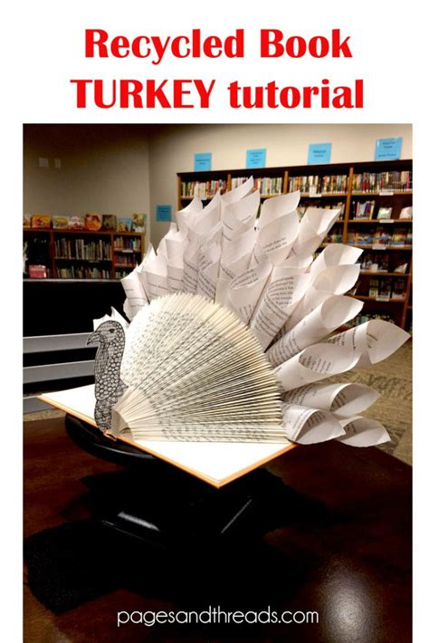 How To Make A Turkey Out Of A Paper Bag - how to make a recycled book turkey for a thanksgiving
