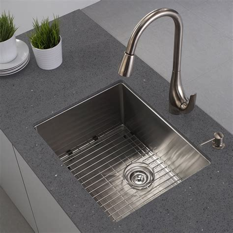 Stainless Undermount Kitchen Sinks Kraus Khu101 23 Handmade 16 Single Basin Undermount Stainless Steel Kitchen Sink Atg Stores