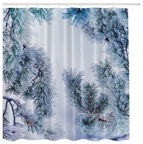 winter shower curtain morethancurtains icy pine tree in winter snow fabric