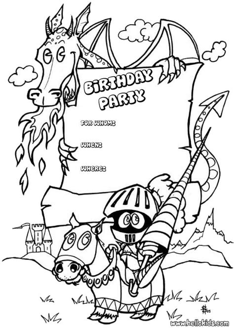 invitation card coloring page dragon birthday party invitation coloring pages