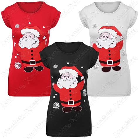 womens ladies christmas glitter santa print t shirts