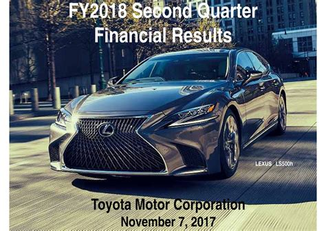 toyota motor corporation toyota motor corporation 2018 q2 results earnings call