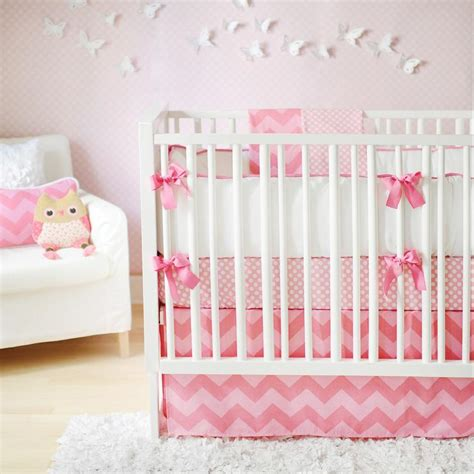 Baby Pink Cot Bedding Sets Pink Chevron Crib Bedding Nursery