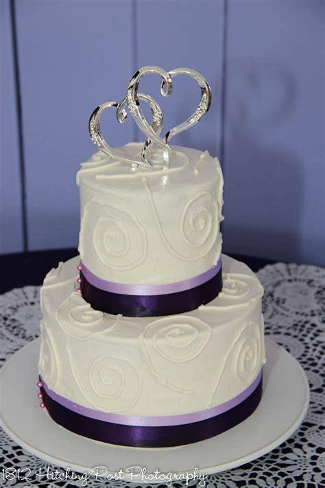 Purple Drape Two Tier Wedding Cakes