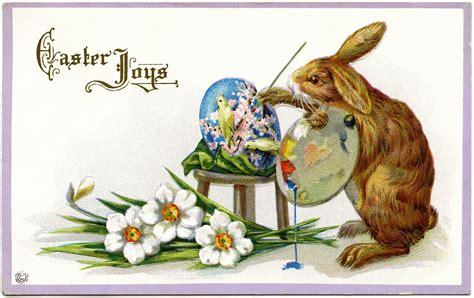 artistic bunny free vintage easter postcard design