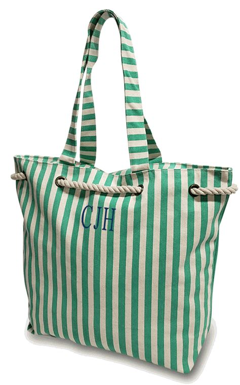 monogrammed striped beach bag personalized mint