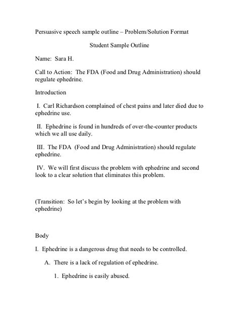 problem solution outline template persuasive speech sle outline problem