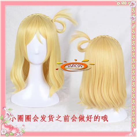 Wig Ohara Mari Aqours Ruler live handmade aqours ohara mari small roll wig gold wavy anime hair heat