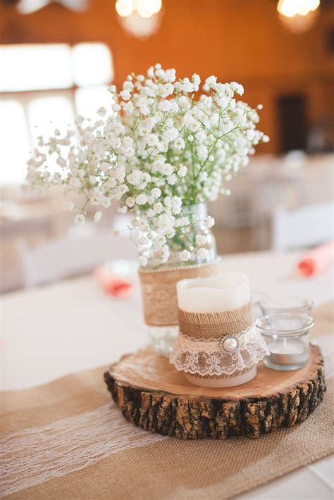 Dress Barn Customer Service Wooden Slab Centerpiece With Burlap And Lace