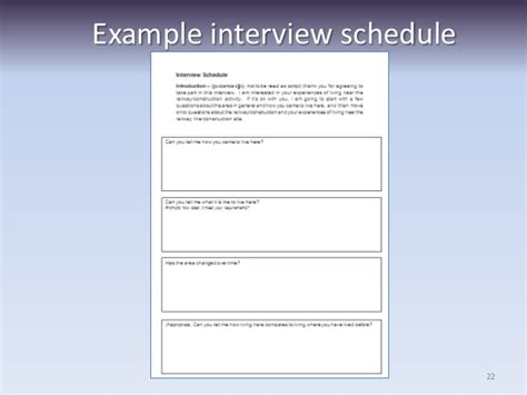 schedule template for qualitative research researching using questionnaires and interviews