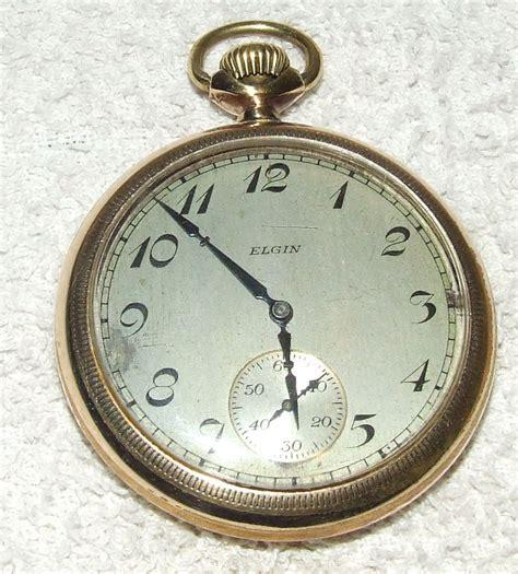 antique working 1926 elgin 17j deco gold pocket