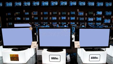 bid electronics big electronic retail store tv stock photo image of