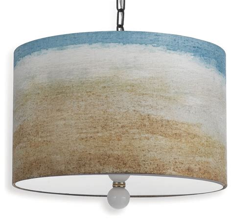 painted seaside style landscape drum pendant light