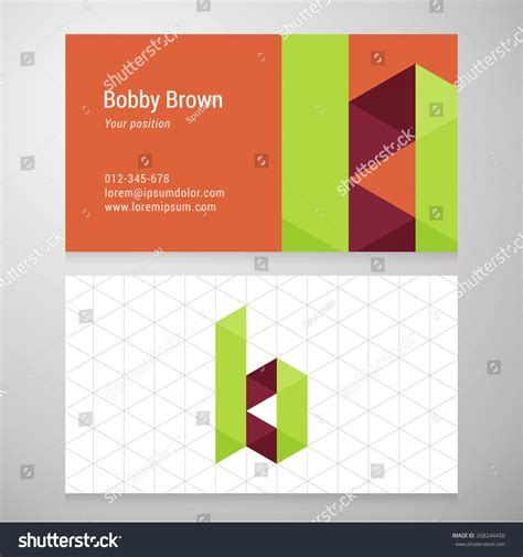 origami card template modern letter b origami business card stock vector