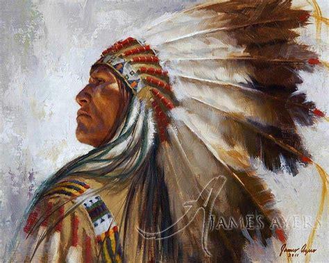 american indian painting lakota war bonnet lakota ayers original painting
