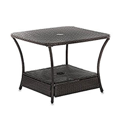 Patio Umbrella Side Table Umbrella Stand Side Table Base In Wicker For Patio Furniture Outdoor Umbrella