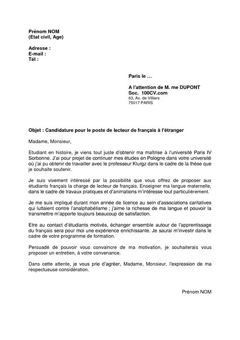 Exemple De Lettre Bac Francais Lettre De Motivation En Francais Exemple Motivation Lettre