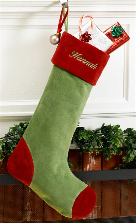 green velvet personalized christmas stocking with red cuff