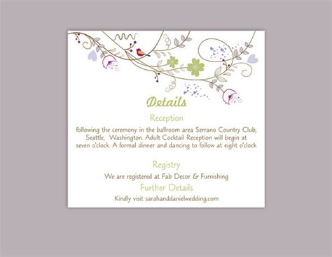 editable information card template diy wedding details card template editable text word file