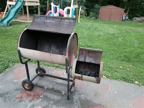 1000 Images About Grill On Drums Backyards And How To Build Wip Offset Smoker Grill From 55 Gallon Drum Drum From Central Vac And Random Steel