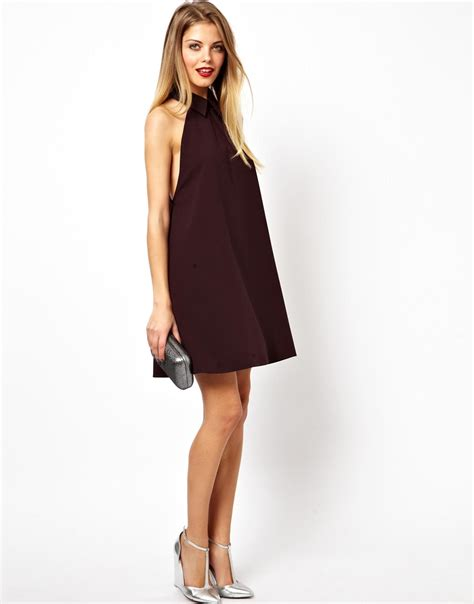 swing dress with collar asos swing dress with collar and drop armhole in purple lyst