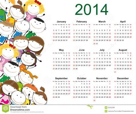 Calendrier Kinder 2014 Simple 2014 Calendar Royalty Free Stock Photos