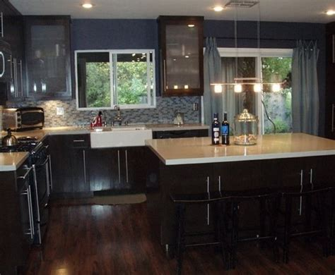 Dark Kitchen Cabinets With Dark Hardwood Floors | dark wood floors and cabinets with dark granite countertop