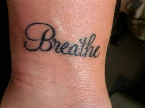 word tattoo 54 just breathe tattoos design on wrist