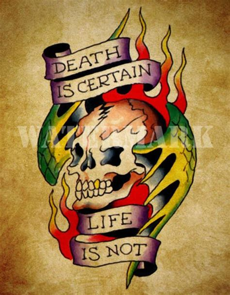 death is certain life is not tattoo unavailable listing on etsy