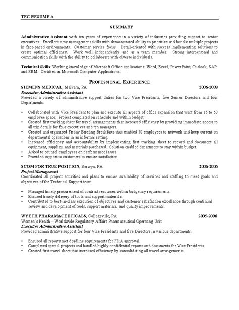 sles of resumes for administrative assistant