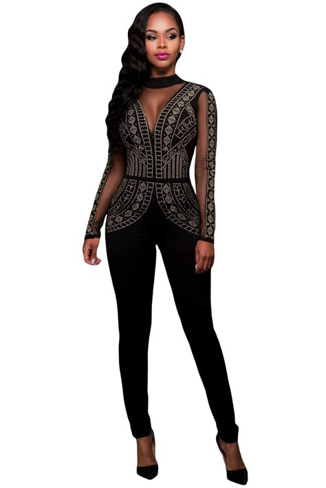 mesh pattern jumpsuit wholesale steunk studded pattern mesh insert jumpsuit