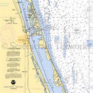 Coastal Kitchen Rugs - florida fort pierce indian river st lucie nautical chart decor